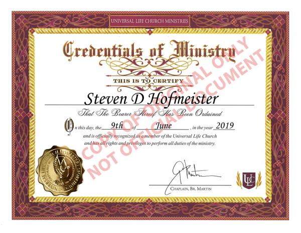 Universal Life Church Ordination Registration Certificate