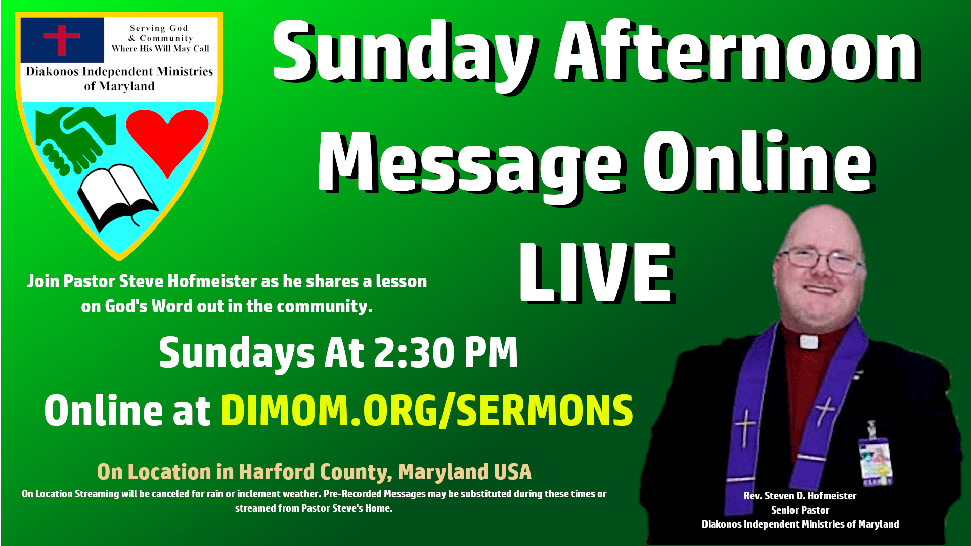 Sunday Afternoon Message - Sundays at 2:00 PM Eastern Time, join us at dimom.org/sermons